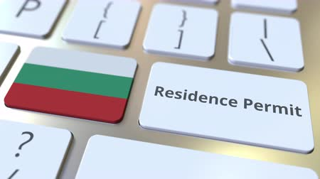 expat : Residence Permit text and flag of Bulgaria on the buttons on the computer keyboard. Immigration related conceptual 3D animation