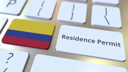 reside : Residence Permit text and flag of Colombia on the buttons on the computer keyboard. Immigration related conceptual 3D animation