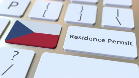 reside : Residence Permit text and flag of the Czech Republic on the buttons on the computer keyboard. Immigration related conceptual 3D animation