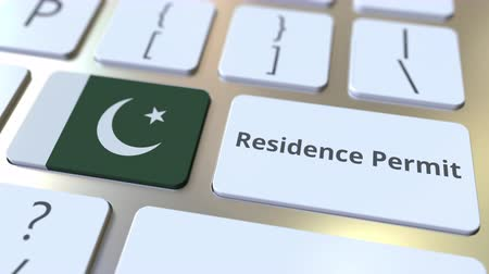 expat : Residence Permit text and flag of Pakistan on the buttons on the computer keyboard. Immigration related conceptual 3D animation