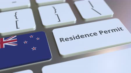 expat : Residence Permit text and flag of New Zealand on the buttons on the computer keyboard. Immigration related conceptual 3D animation