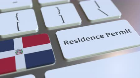 expat : Residence Permit text and flag of the Dominican Republic on the buttons on the computer keyboard. Immigration related conceptual 3D animation Stock Footage