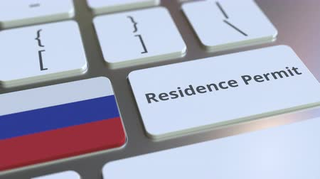 göçmen : Residence Permit text and flag of Russia on the buttons on the computer keyboard. Immigration related conceptual 3D animation
