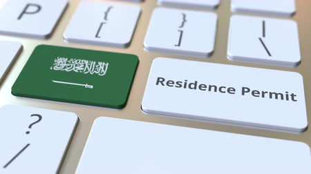 göçmen : Residence Permit text and flag of Saudi Arabia on the buttons on the computer keyboard. Immigration related conceptual 3D animation