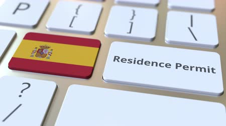 reside : Residence Permit text and flag of Spain on the buttons on the computer keyboard. Immigration related conceptual 3D animation