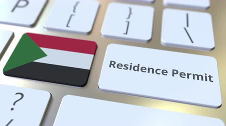 reside : Residence Permit text and flag of Sudan on the buttons on the computer keyboard. Immigration related conceptual 3D animation