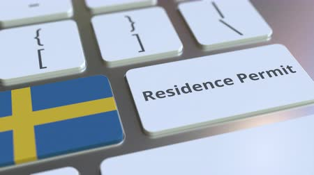 expat : Residence Permit text and flag of Sweden on the buttons on the computer keyboard. Immigration related conceptual 3D animation Stock Footage