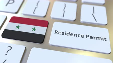 göçmen : Residence Permit text and flag of Syria on the buttons on the computer keyboard. Immigration related conceptual 3D animation