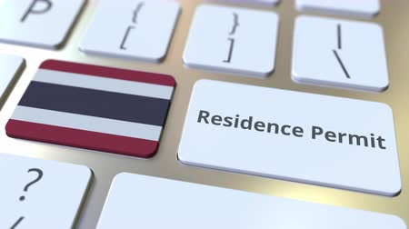 expat : Residence Permit text and flag of Thailand on the buttons on the computer keyboard. Immigration related conceptual 3D animation