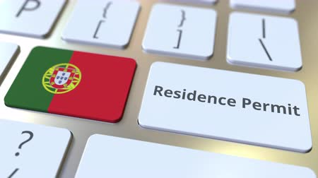 reside : Residence Permit text and flag of Portugal on the buttons on the computer keyboard. Immigration related conceptual 3D animation