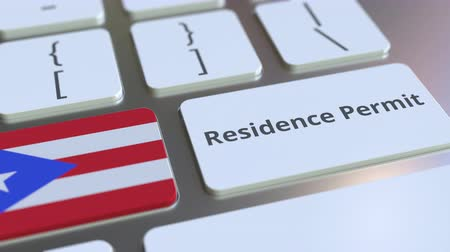 reside : Residence Permit text and flag of Puerto Rico on the buttons on the computer keyboard. Immigration related conceptual 3D animation Stock Footage