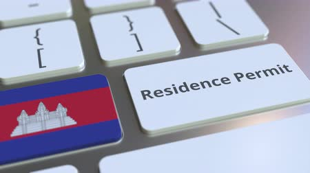 reside : Residence Permit text and flag of Cambodia on the buttons on the computer keyboard. Immigration related conceptual 3D animation