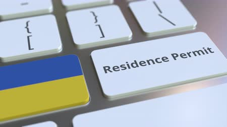 reside : Residence Permit text and flag of Ukraine on the buttons on the computer keyboard. Immigration related conceptual 3D animation