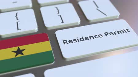 reside : Residence Permit text and flag of Ghana on the buttons on the computer keyboard. Immigration related conceptual 3D animation