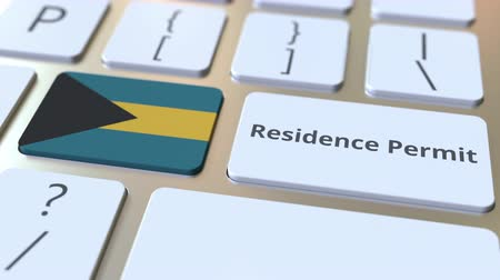 expat : Residence Permit text and flag of the Bahamas on the buttons on the computer keyboard. Immigration related conceptual 3D animation