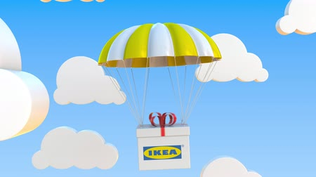 パック : IKEA logo on moving box moves under parachute. Editorial loopable 3D animation 動画素材