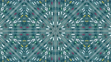 congested : Aerial top down shot of a major city road traffic jam, kaleidoscopic effect
