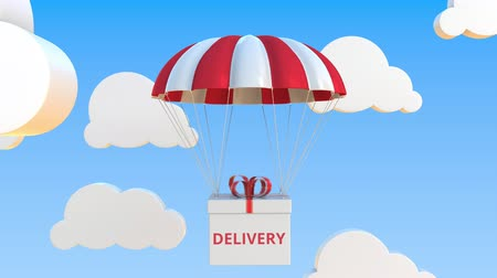 padák : Box with DELIVERY text falls with a parachute. Loopable conceptual 3D animation