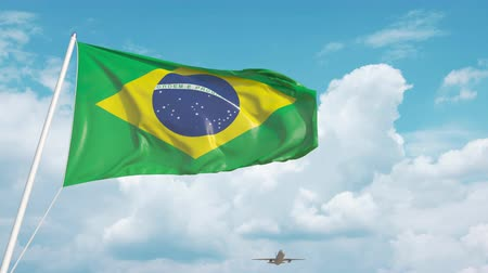 brazil : Commercial airplane landing behind the Brazilian flag. Tourism in Brazil