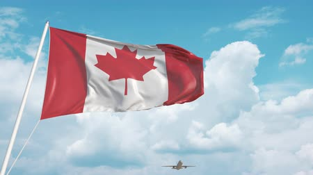 kanada : Airliner approaches the Canadian flag. Tourism in Canada Stok Video