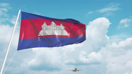 cambojano : Airliner approaches the Cambodian flag. Tourism in Cambodia