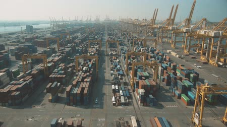 調達 : Aerial shot of a container port in Dubai, UAE