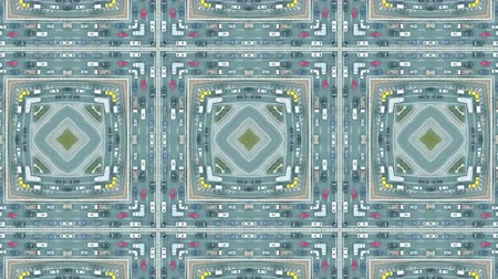 congested : Aerial top down view of urban road traffic jam, kaleidoscopic effect