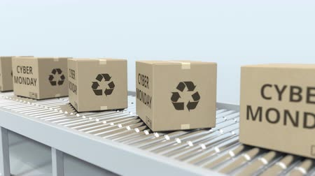 reciclado : Boxes with CYBER MONDAY text move on roller conveyor. Loopable 3D animation