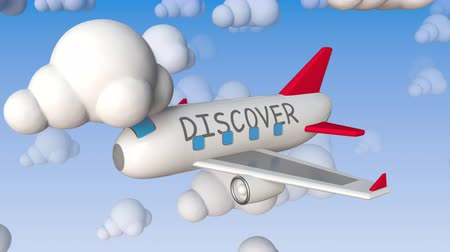 観光 : Toy airliner with DISCOVER text flies between cloud mockups, conceptual loopable 3D animation