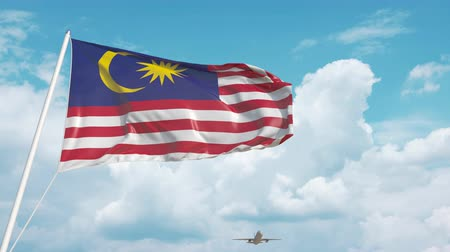 arrive : Plane arrives to airport with national flag of Malaysia. Malaysian tourism Stock Footage