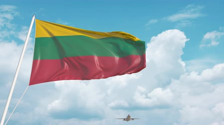 flag of lithuania : Airliner approaches the Lithuanian flag. Tourism in Lithuania Stock Footage