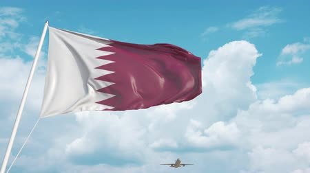 chegar : Plane arrives to airport with flag of Qatar. Qatari tourism Vídeos