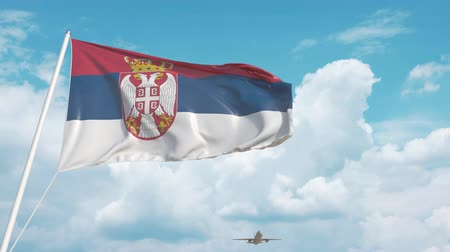 sérvia : Airliner approaches the Serbian flag. Tourism in Serbia