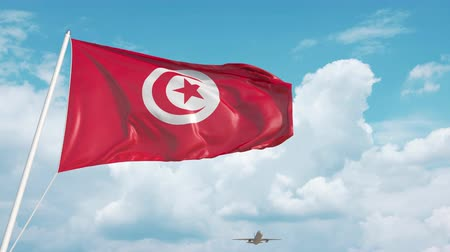 tunesie : Airliner approaches the Tunisian flag. Tourism in Tunisia