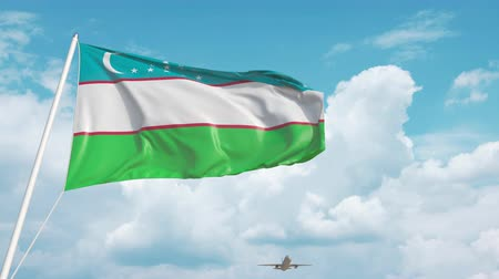 oezbekistan : Commercial airplane landing behind the Uzbek flag Stockvideo