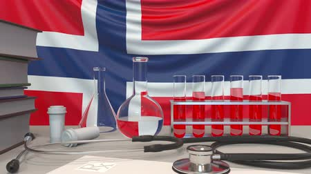 пробирка : Clinic laboratory equipment on Norwegian flag background. Healthcare and medical research in Norway related conceptual animation