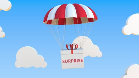 sudden : Box with SURPRISE text falls with a parachute. Loopable conceptual 3D animation Stock Footage