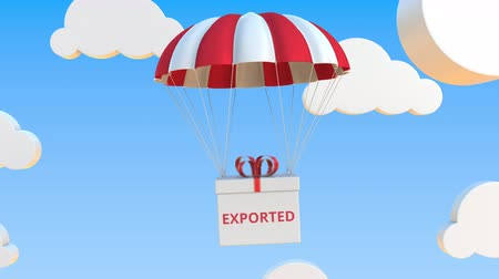 padák : Box with EXPORTED text falls with a parachute. Loopable conceptual 3D animation