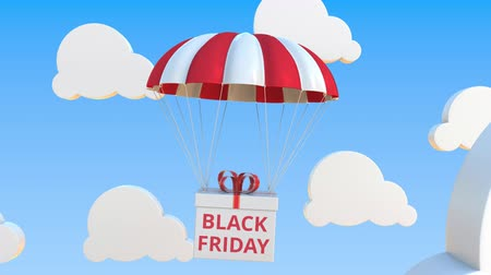 padák : Box with BLACK FRIDAY text falls with a parachute. Loopable conceptual 3D animation