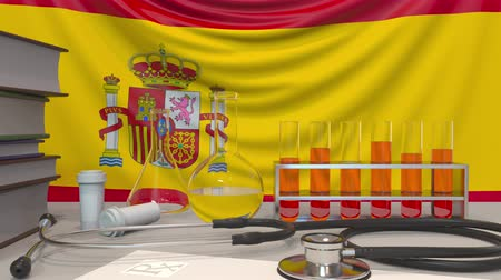 arbeidsomstandigheden : Clinic laboratory equipment on Spanish flag background. Healthcare and medical research in Spain related conceptual animation