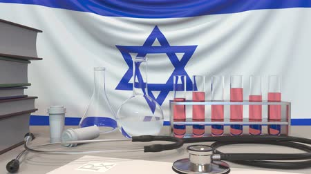 fiola : Clinic laboratory equipment on Israeli flag background. Healthcare and medical research in Israel related conceptual animation