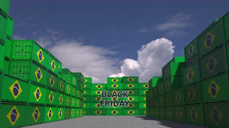 brazilian : Containers with BLACK FRIDAY text and national flags of Brazil. Brazilian commerce related 3D animation