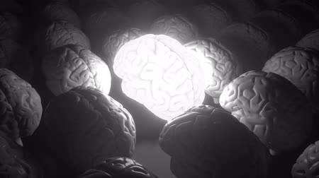 felvilágosodás : Glowing human brain among ordinary ones. Enlightenment, idea or inspiration related loopable conceptual 3D animation