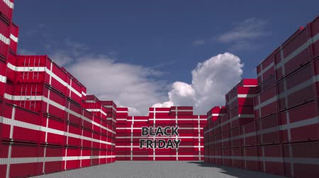 deense dog : Cargo containers with BLACK FRIDAY text and flags of Denmark. Danish commerce related 3D animation
