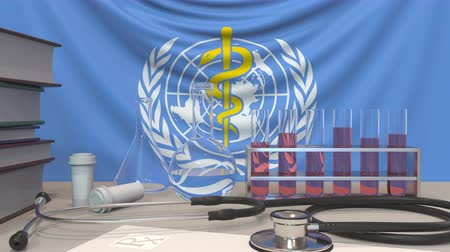 пробирка : Laboratory equipment on flag of World Health Organization WHO background. Global medical research related editorial animation