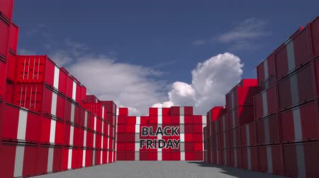 perui : Containers with BLACK FRIDAY text and national flags of Peru. Peruvian commerce related 3D animation