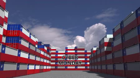 chileno : Cargo containers with CYBER MONDAY text and national flags of Chile. Chilean online commerce related 3D animation