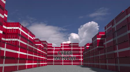 danimarka : Cargo containers with CYBER MONDAY text and flags of Denmark. Danish online commerce related 3D animation