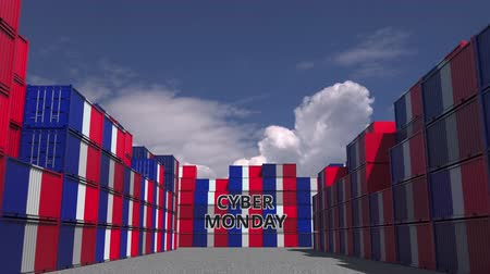 segunda feira : Cargo containers with CYBER MONDAY text and flags of France. French online commerce related 3D animation