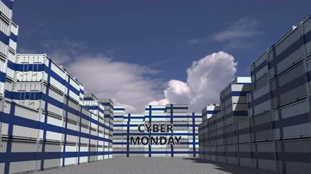 segunda feira : Cargo containers with CYBER MONDAY text and national flags of Finland. Finnish online commerce related 3D animation